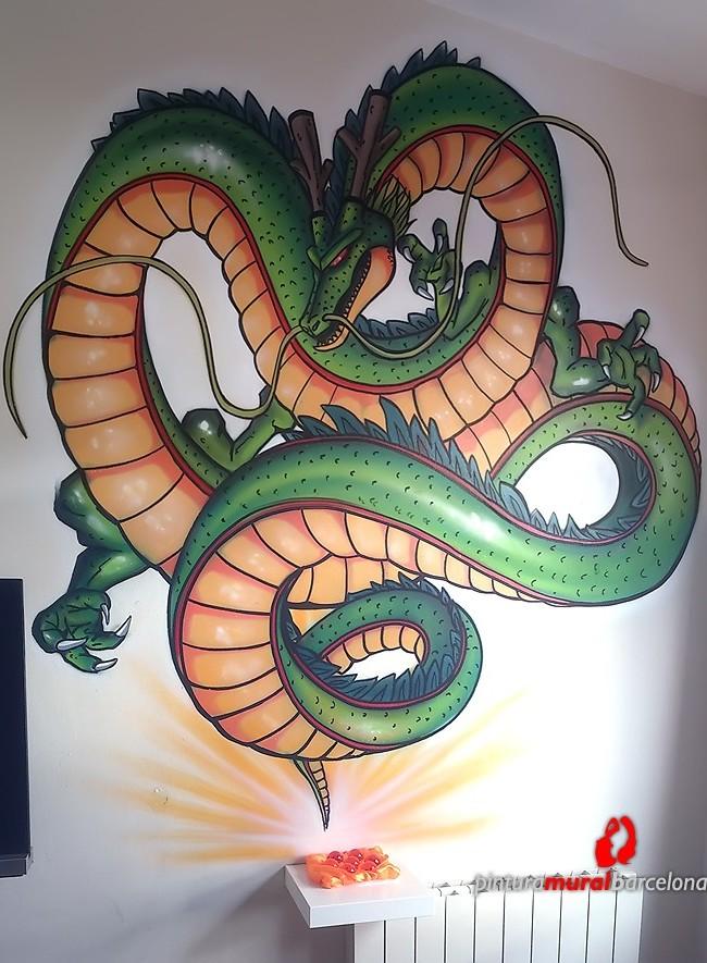 MURAL GRAFFITI DRAGON SHENRON EN HABITACIÓN
