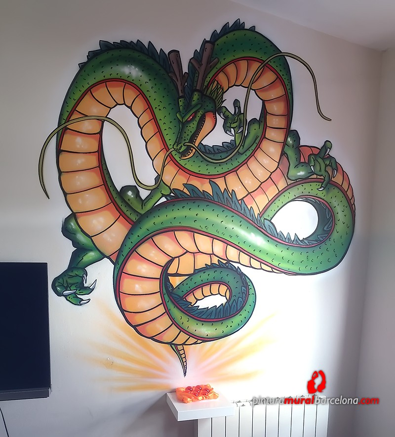 Mural graffiti dragon shenron en habitaci n pintura for Mural graffiti