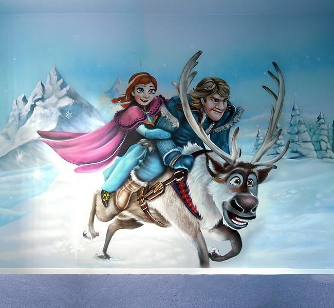 FROZEN: ELSA, ANNA, OLAF, KRISTOFF y SVEN – Mural habitación infantil. 2014