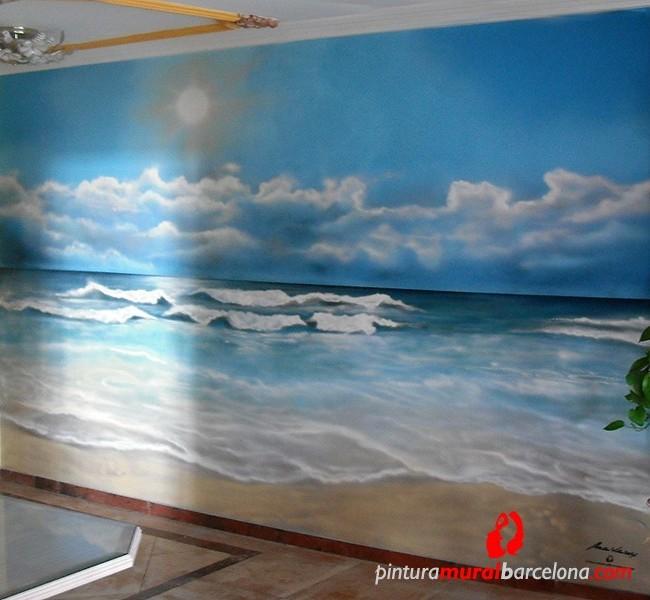 Mural graffiti paisaje playa pintura mural barcelona - Pintura mural barcelona ...