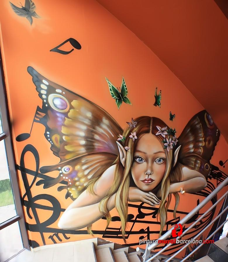 Mural graffiti hada m sica pintura mural barcelona for Mural graffiti