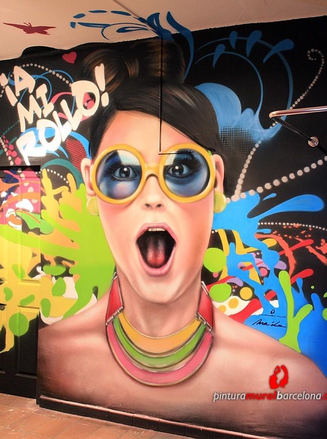 MURAL GRAFFITI REALISTA MODERNO EN TIENDA