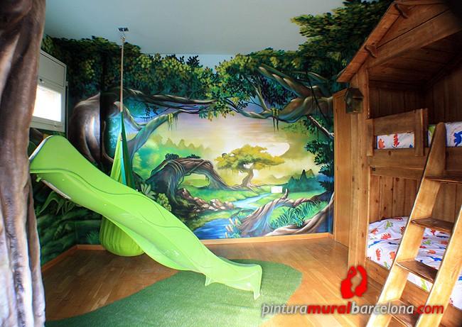 habitacion-paisaje-tematica-graffiti-animado-bosque-amaca