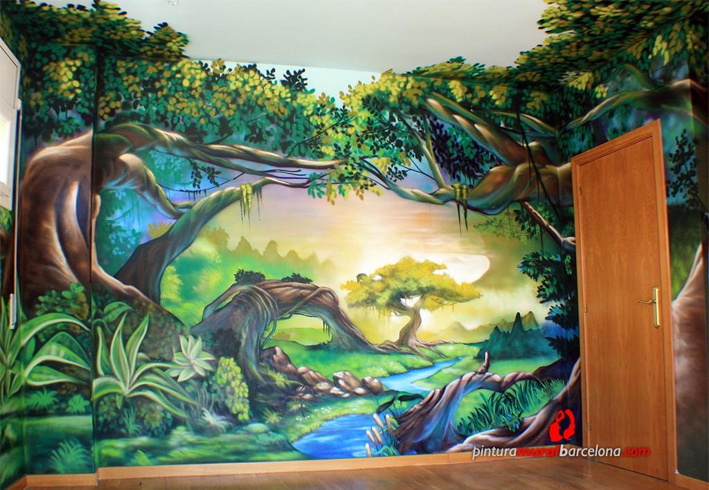 Mural graffiti paisaje m gico infantil pintura mural for Murales de tela para pared
