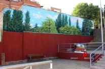 MURAL GRAFFITI PAISAJE EN PARED MEDIANERA DE PARQUE PÚBLICO