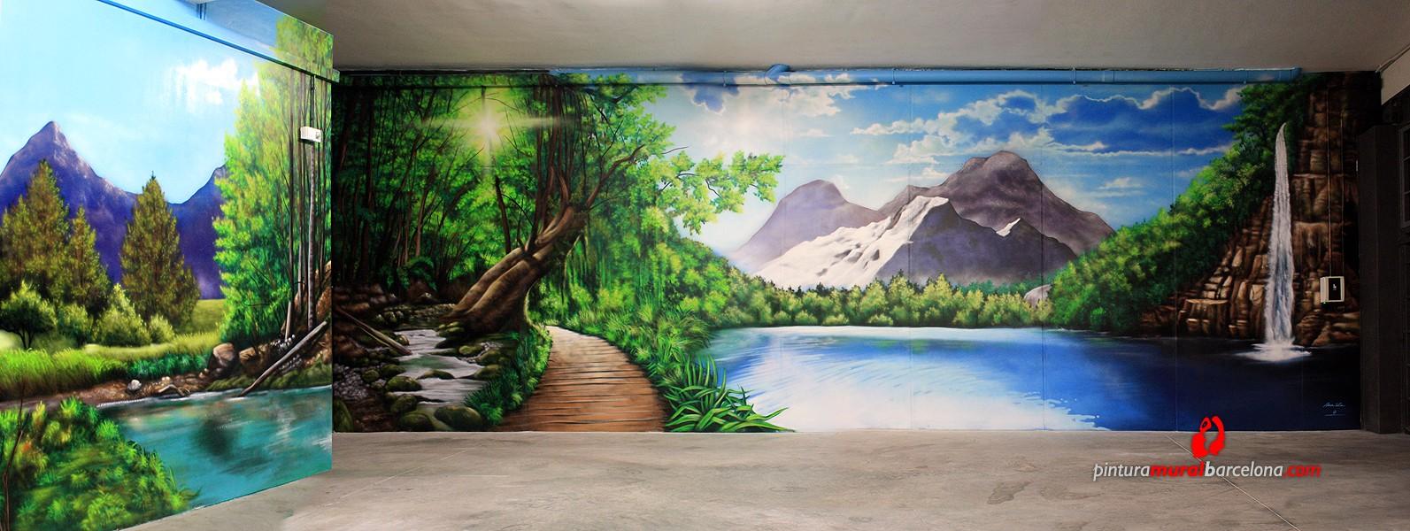 Paisaje 3d mural bosque pintura mural barcelona mateo for Pintar murales en paredes exteriores