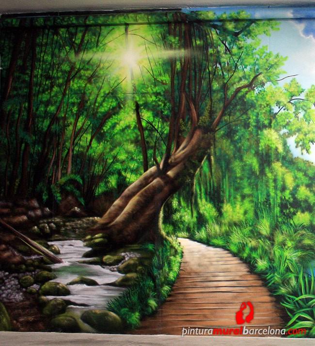 mural-graffiti-paisaje-bosque-3d-realista