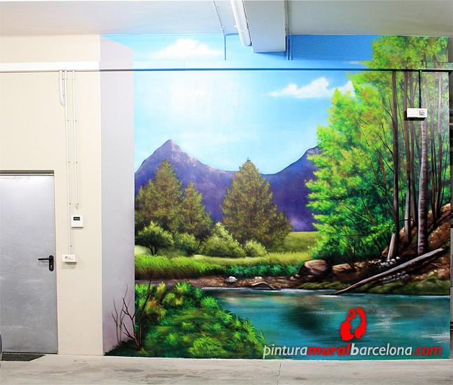 Paisaje 3d mural bosque pintura mural barcelona mateo for Murales en paredes interiores