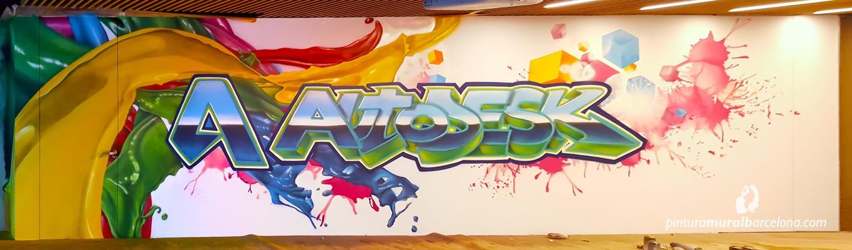 Mural oficina autodesk pintura mural barcelona mateo for Mural graffiti