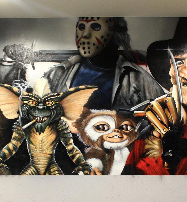 Graffiti pel culas de terror en bar tem tico pintura for El mural pelicula online