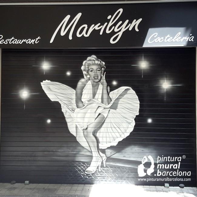 Persiana marilyn pintada pintura mural barcelona - Pintura mural barcelona ...