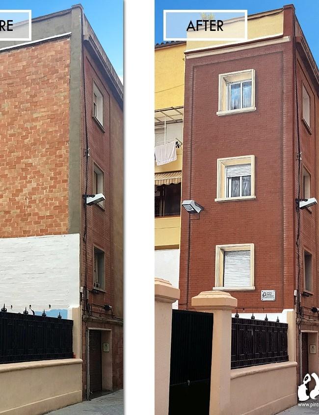 Trampantojo fachada con mural 3d en medianera