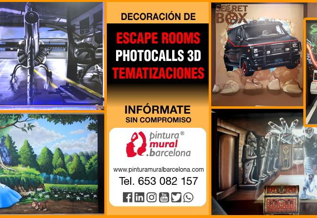 DECORACION ESCAPE ROOMS, PHOTOCALLS 3D Y TEMATIZACIONES