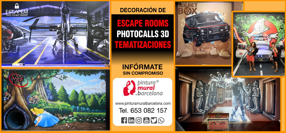 DECORACION ESCAPE ROOMS, PHOTOCALLS 3D Y TEMATIZACIONES
