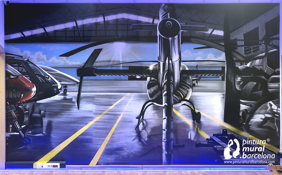 mural-graffiti-escape-room-3d-hangar-helicopteros
