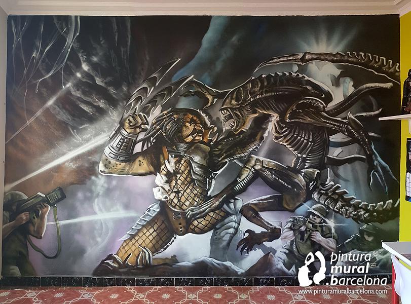 mural-graffiti-alien-depredador-habitacion