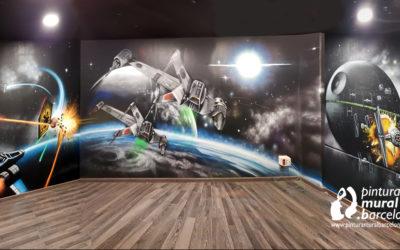 MURAL GRAFFITI STAR WARS + FLUOR UV NEON