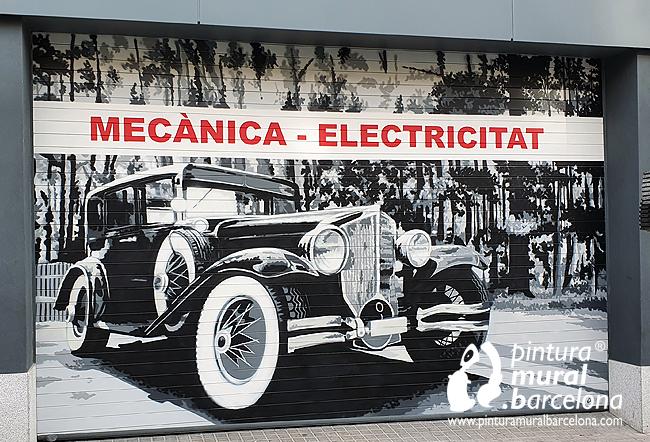 persianas-pintadas-taller-mecánico-coche-antiguo-clásico