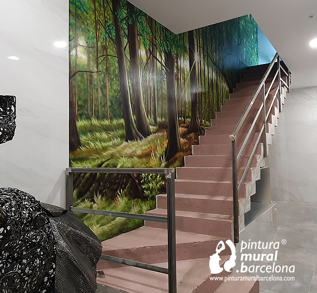 mural-bosque-escalera-graffiti-pintura-naturaleza-arboles